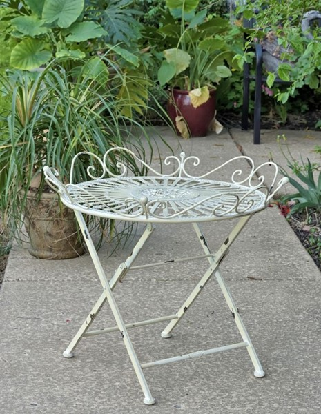 """Stephania"" Victorian Folding Iron Garden Table"