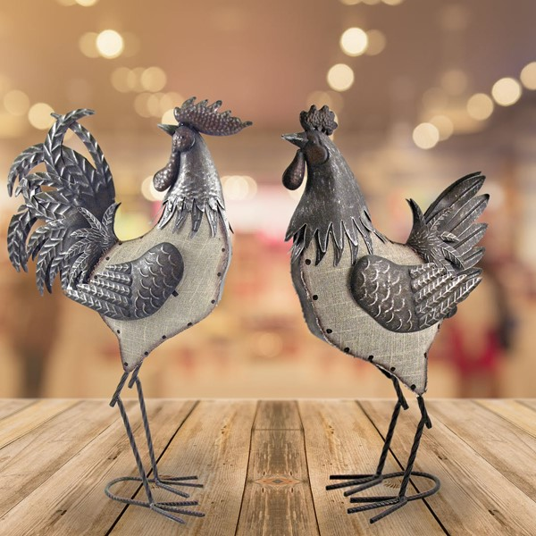 Set of 4 Assorted Style Rooster & Hen Iron/Burlap Decoration