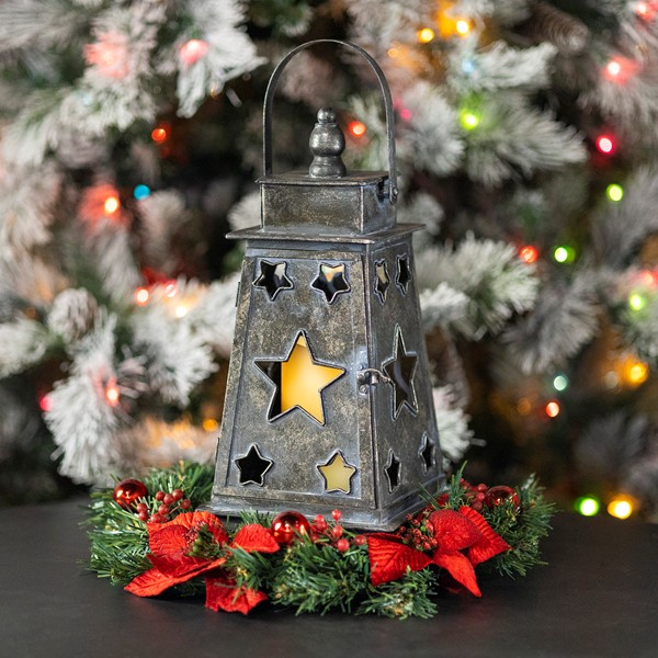 Star Cutout Lantern in Frosted Silver