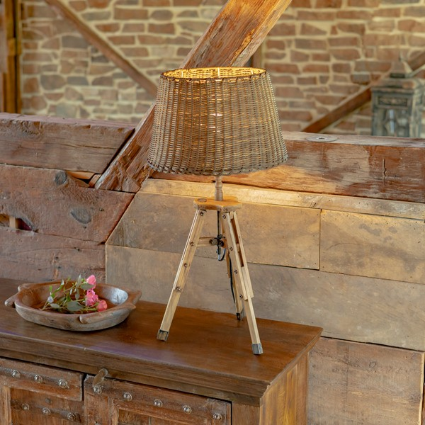 Rattan Style Table Lamp with Wooden Tripod and Bamboo Shade