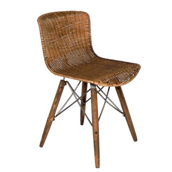 "Iron and Wooden ""Lesera"" Rattan Chair"