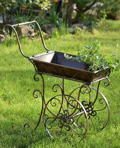SMALL IRON VICTORIAN FLOWER CART WITH MOVING WHEELS ANTIQUE BRONZE COLOR