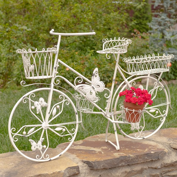 Large Iron Butterfly Bicycle Plant Stand in White
