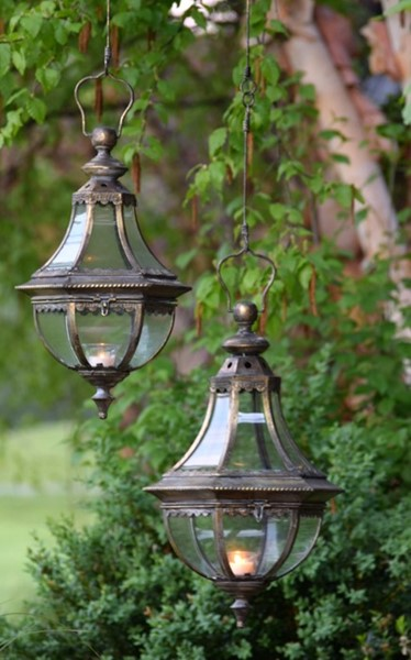 "Set of 2 Hanging Lanterns ""Amsterdam 1993"" with Handmade Chain in Frosted Gold"