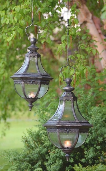 "Set of 2 Hanging Lanterns ""Amsterdam 1993"" with Handmade Chain - Frosted Silver"