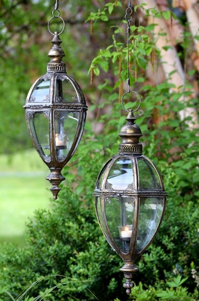 "Set of 2 Hanging Iron Lanterns ""Paris 1968"" with Handmade Chain in Frosted Gold"