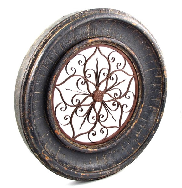 Round Wooden Wall Frame with Iron Decor Center in Tuscan Black Finish
