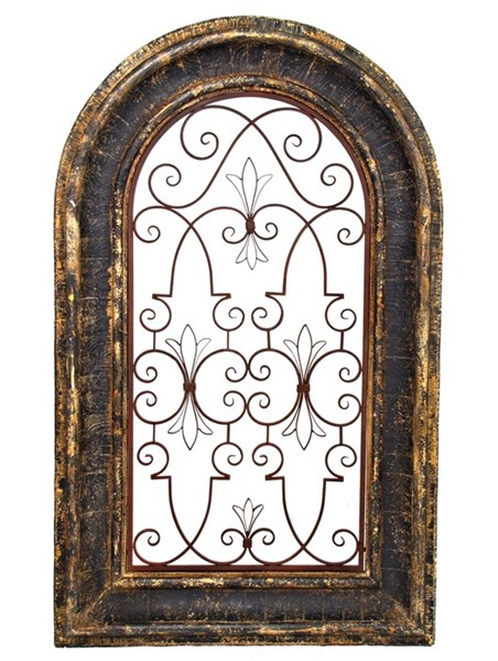 Arched Window Wooden Wall Frame with Iron Decor in Tuscany Black Rustic Finish