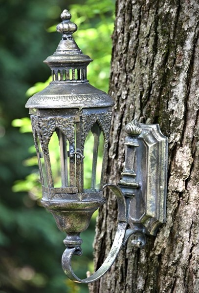 "Old Style Wall Hanging Lantern ""Paris 1968"" in Frosted Silver"