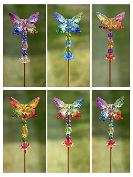 "6 ASSORTED COLORS 54"" TALL 5-TONE ACRYLIC BUTTERFLY GARDEN STAKES"