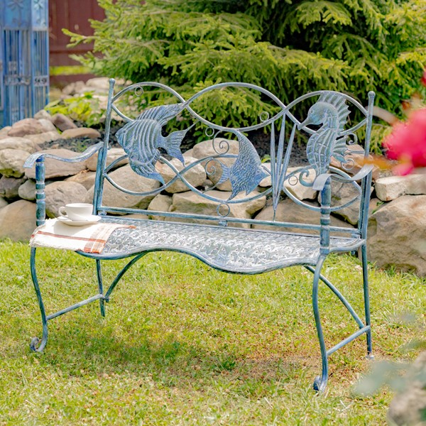 Coastal Sea Creature Bench with Fish and Seahorse