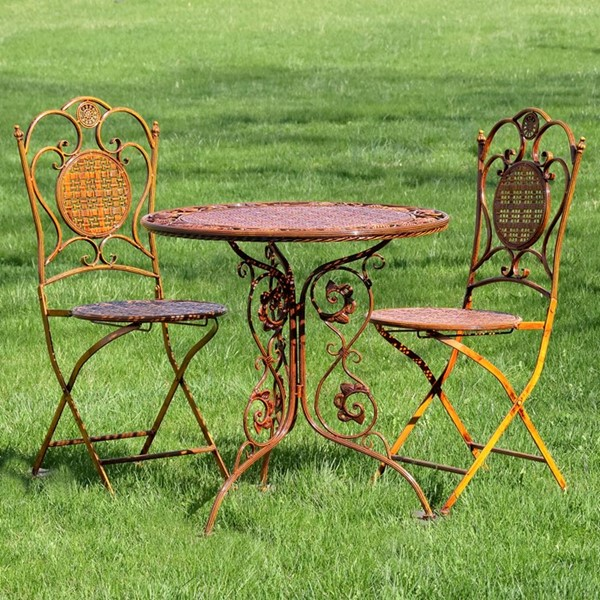 "Three Piece ""Valiko"" Iron Bistro Set - Woven Textured Table and Two Chairs"