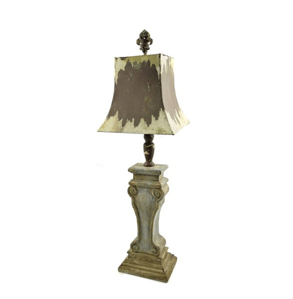 Wooden Column Lamp Stand with Metal Shade