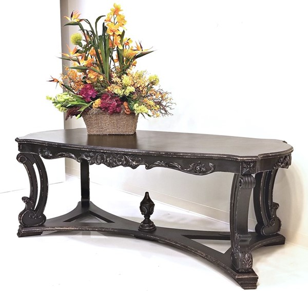 Parisian-Style Large Oval Wooden Table in Antique Black