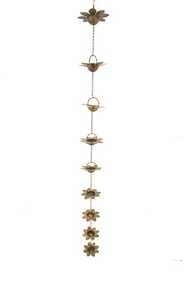 Flower Rain Chain with Antique Copper Finish