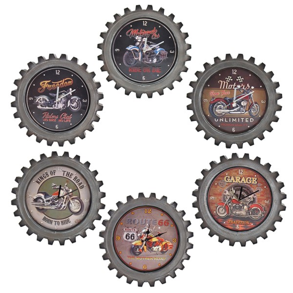 Set of 6 Vintage Style Motorcycle Gear-Shaped Iron Wall Clocks