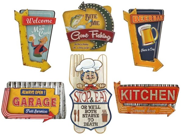 Set of 6 Vintage Style Metal Retro Signs