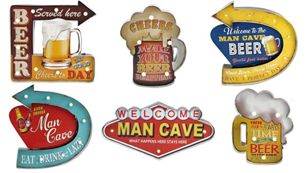 "Set of 6 ""MAN CAVE"" LED Light Up Wall Signs"