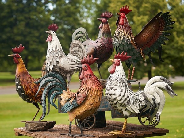 Set of 6 Assorted Style Galvanized Iron Rooster Figurines