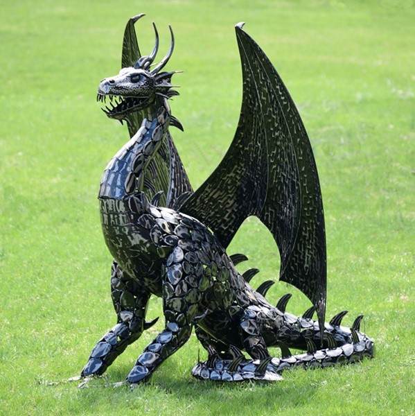 "Large Iron ""Draco"" Dragon Statue"