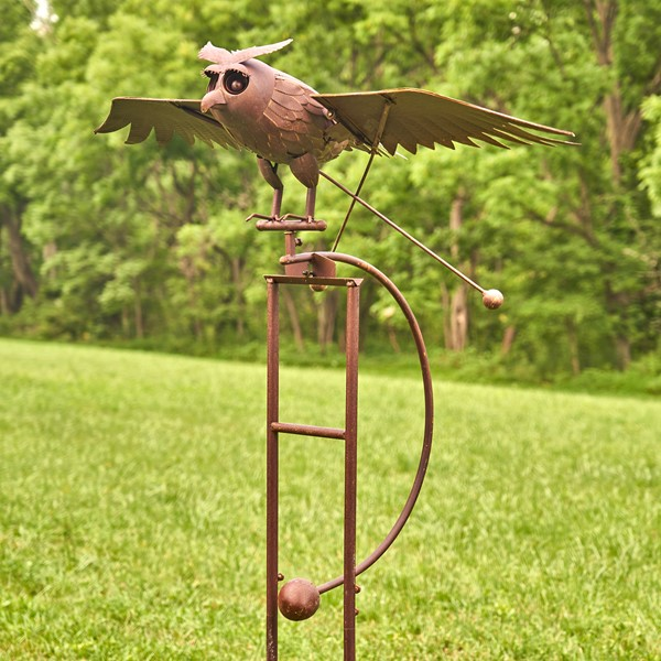 "Large Iron Rocking Owl ""Winslow"" with Moving Wings Garden Stake"
