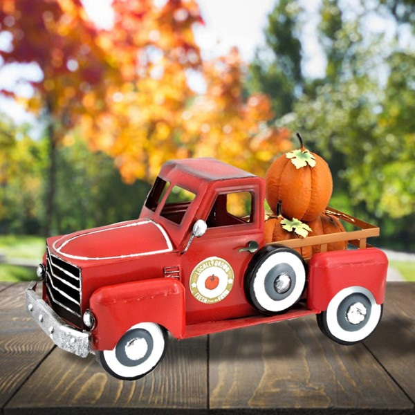 Small Pumpkin Harvest Truck in Red