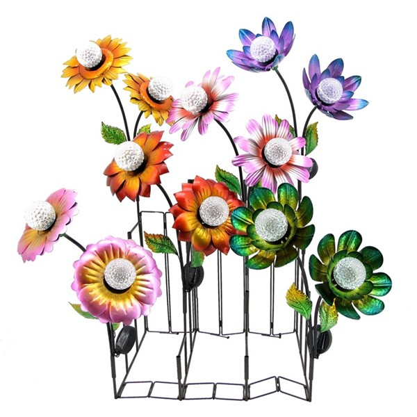 Double Flower Solar Garden Stakes in Six Assorted Colors