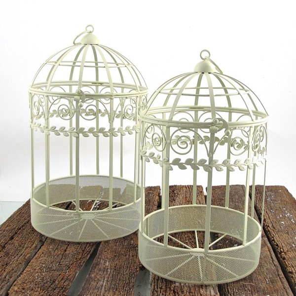 Set of 2 Antique White Cage Style Planters