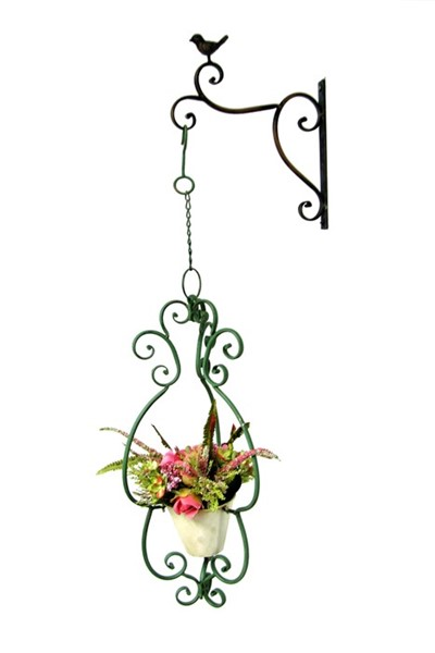 Set of 2 Hanging Flower Buckets with Decorative Wall Mounts