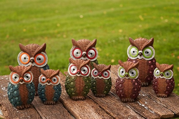 Set of 3 Solar Owls with Sweaters in 3 Assorted Colors