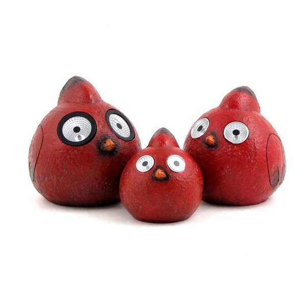 Set of 3 Red Rock Cardinals with Solar Eyes