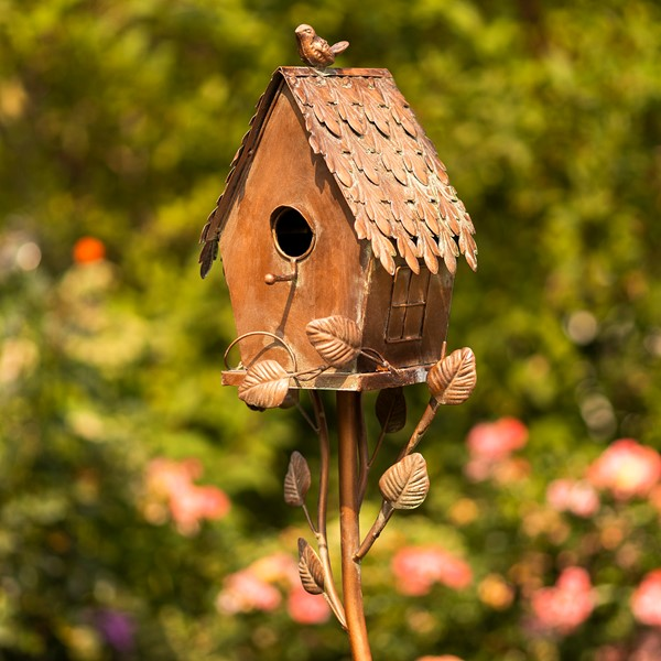 "Country Style Iron Birdhouse Stake ""Cottage"""