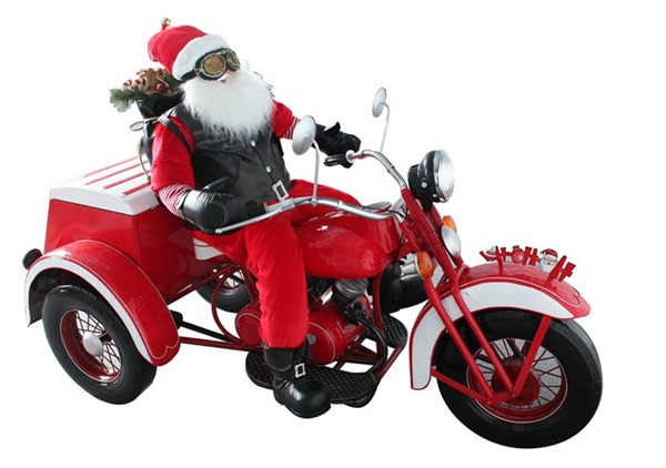 Large Christmas Three-Wheel Motorcycle Trike with Santa Claus Rider