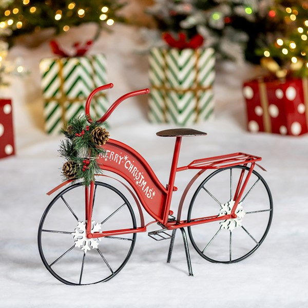 "Small Iron ""Merry Christmas"" Bicycle Decor"