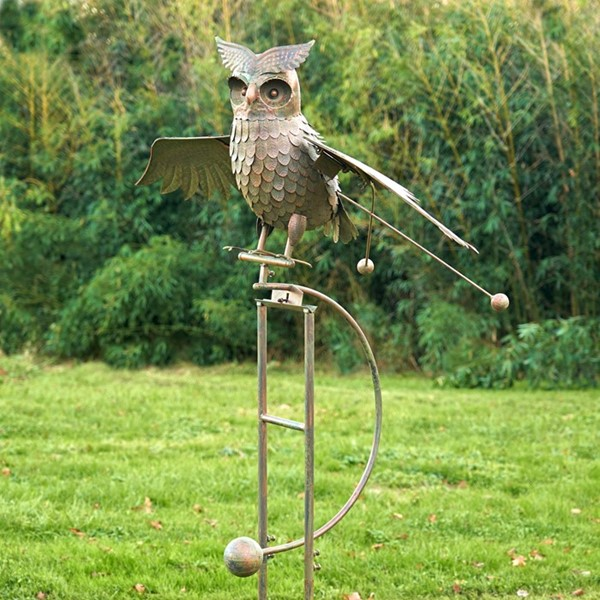 "Large Metal Flying Owl ""Wesley"" Rocking Stake in Antique Bronze"