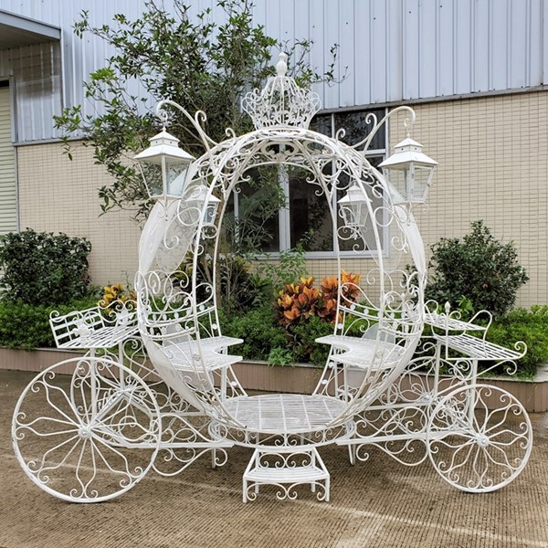 "Large Round Cinderella Carriage in Antique White ""The Luciana"""