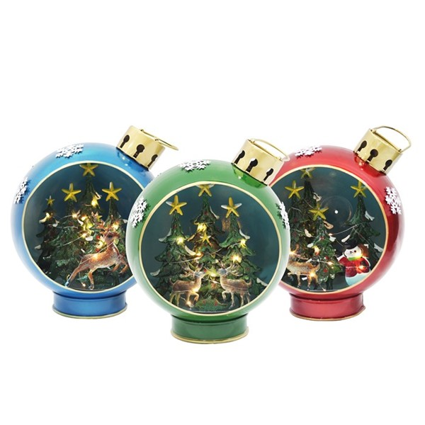 Set of 3 Round Christmas Ornaments with LED Lights