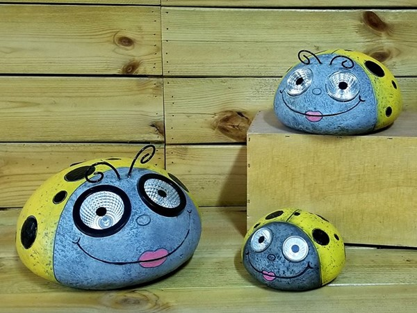 Set of 3 Painted Ladybugs with Solar Eyes in Yellow