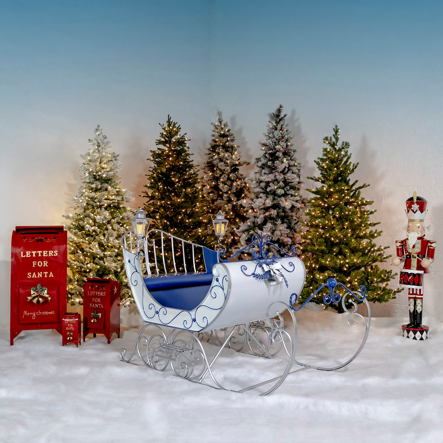 Antique Style Large Victorian Christmas Sleigh in White, Blue & Silver