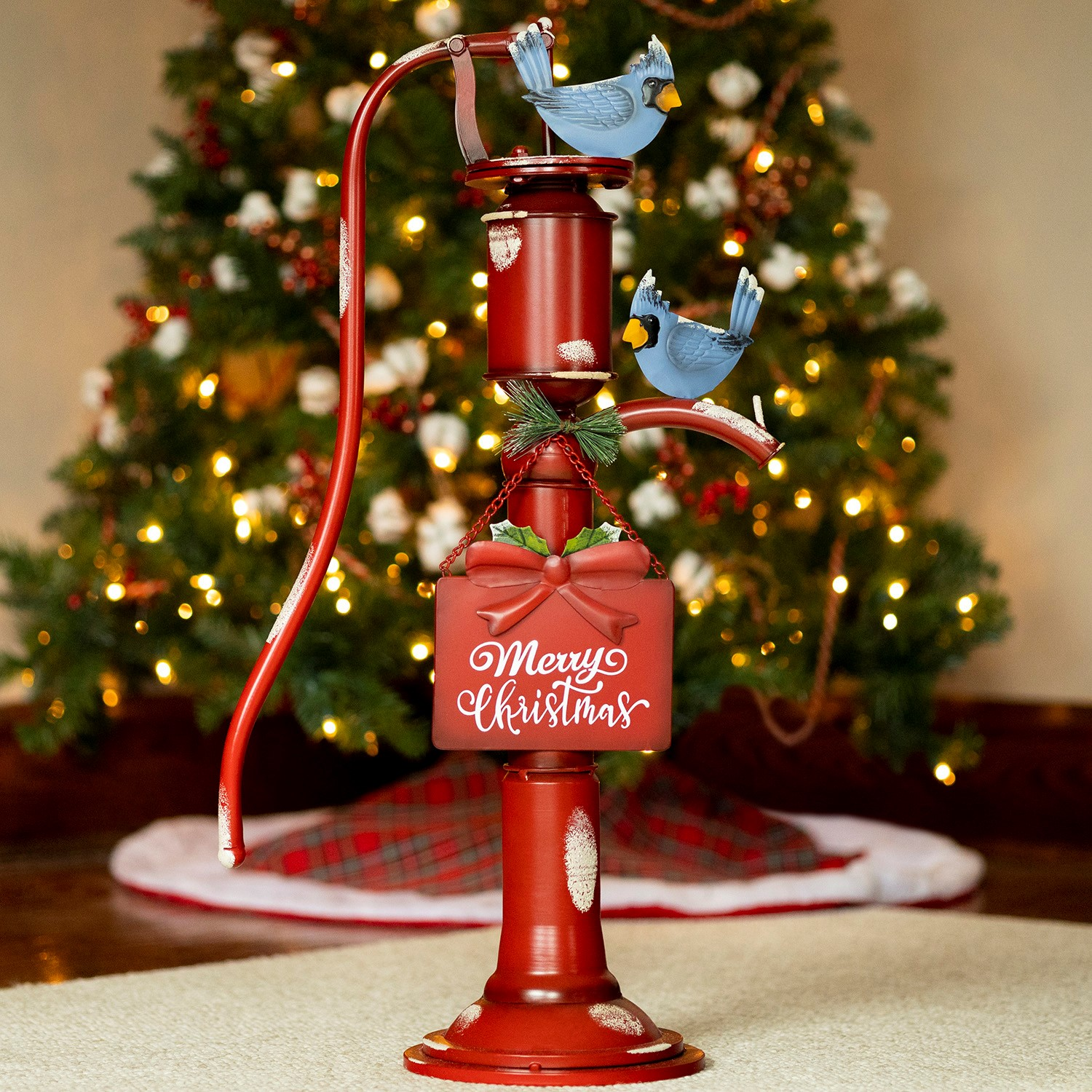 "Old Style Red Iron Water Pump with ""Merry Christmas"" Sign and Birds"