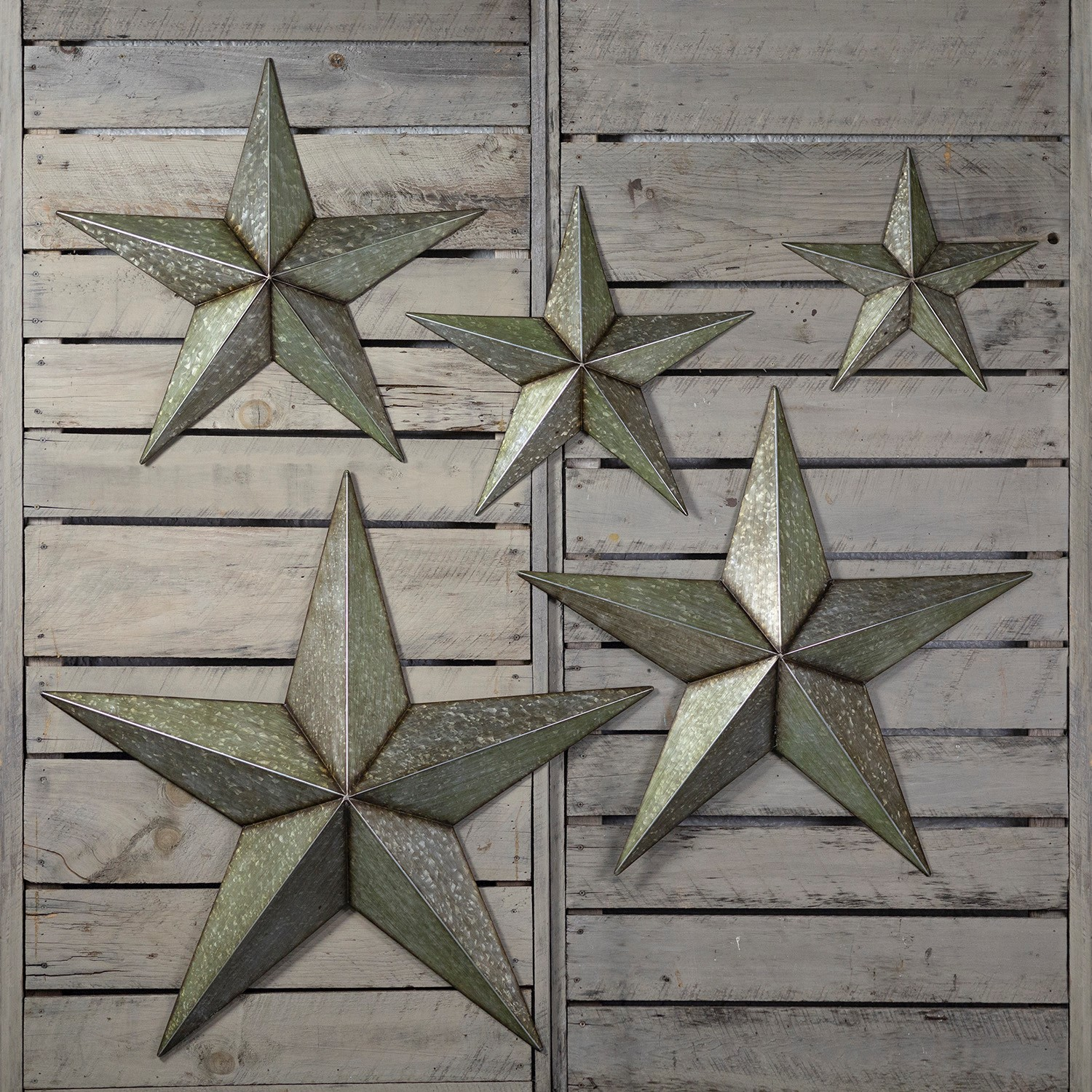 Set of 5 Galvanized Star Wall Decorations