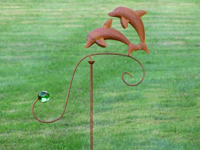 Iron Dolphin Balance Stake with Glass Ball