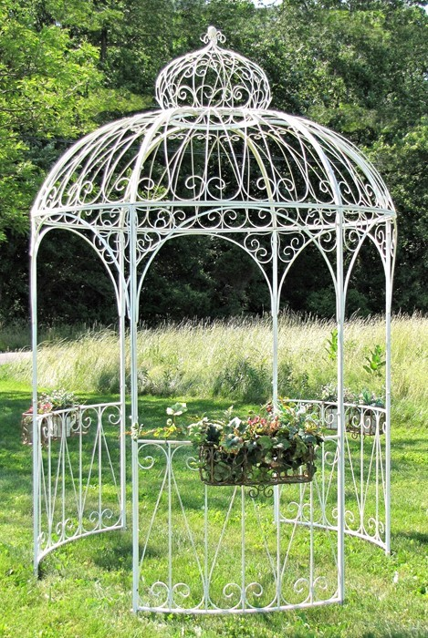 Round Iron Garden Gazebo with 3 Side Walls and Flower Baskets