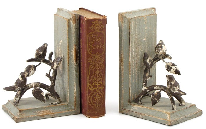 """Birds on a Branch"" Wooden Bookends"