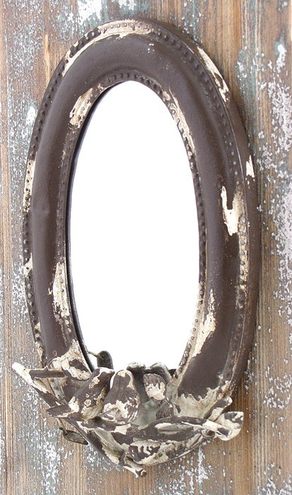 Antique Oval Wall Mirror with Birds