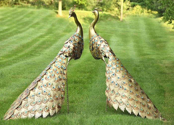 Set of 2 Large Golden Peacocks with Jewels