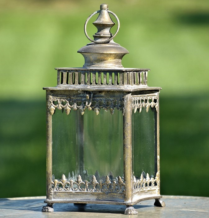 GLASS SMALL GARDEN LANTERN PARIS 1968 FROSTED GOLD COLOR FINISH