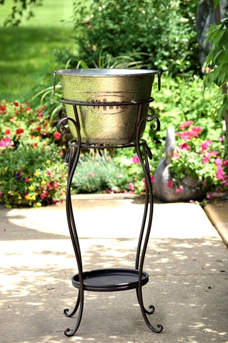 "IRON ""BEER AND WINE"" ICE BUCKET STAND ""MARLONI"" GALVANIZED COLOR FINISH"