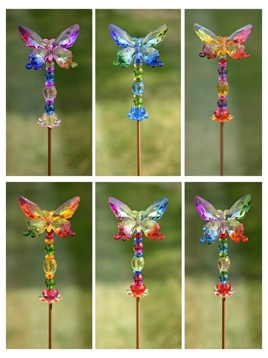 6 ASSORTED COLOR 5-TONE ACRYLIC BUTTERFLY GARDEN STAKES WITH THE COLOR BEADS