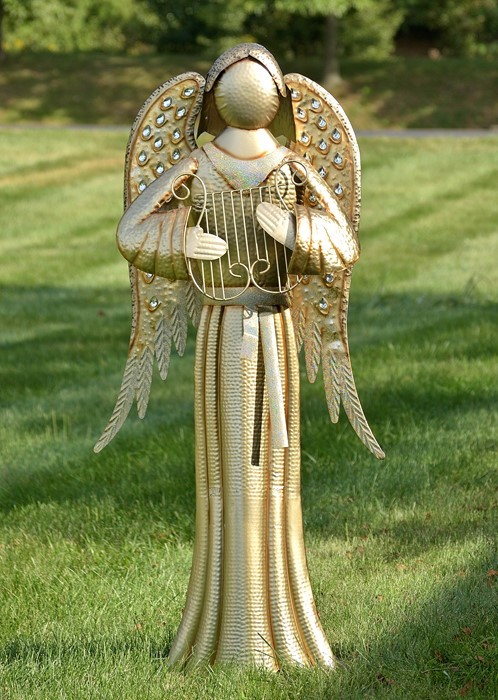 "STANDING IRON ANGEL ""TANIA"" WITH HARP METALLIC GOLDEN COLOR FINISH"